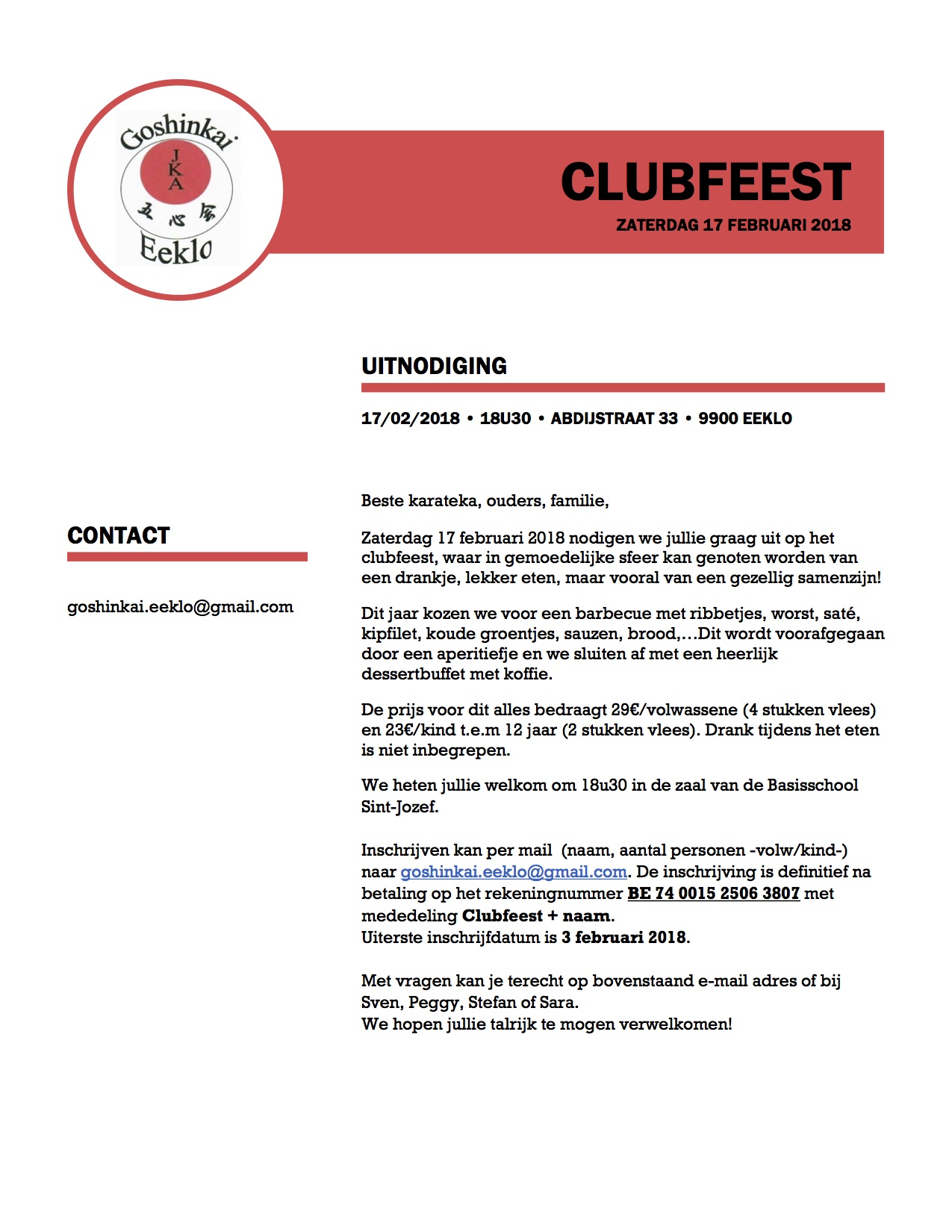 Uitnodiging Clubfeest Goshinkai 2018 - DEFINITIEF